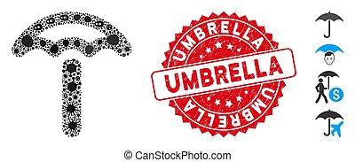 icône, collage, parapluie, rond, cachet, textured, grippe