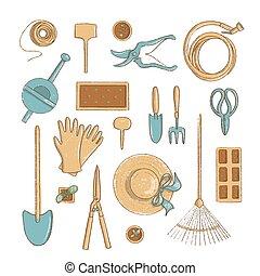 icône, collection, etc., sommet, jardinage, vue, utile, dessin animé, style, bêche, chapeau, horticulture, vendange, outils, set.