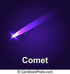 icône, comète, isométrique, style, espace