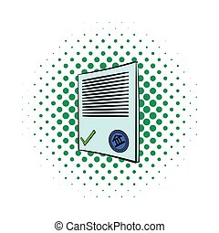 icône, comiques, style, document