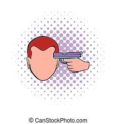 icône, comiques, style, suicide, headshot