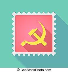 icône, communiste, long, timbre, ombre, symbole, courrier