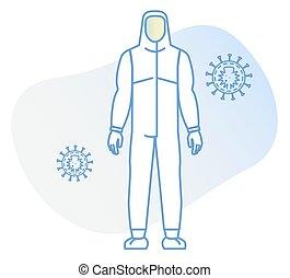 icône, complet, matériel protection, personnel, corps plein, -