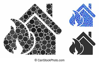 icône, composition, realty, brûler, cercles, désastre