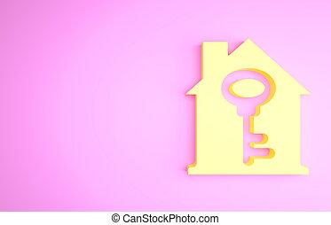 icône, concept, concept., illustration, minimalisme, clã©, maison, 3d, turnkey., jaune, isolé, arrière-plan., rose, render