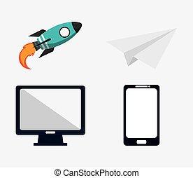 icône, concept, ensemble, stratégie commerciale