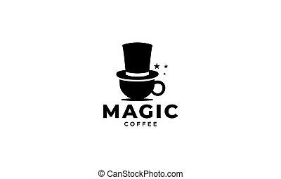 icône, conception, logo, magie, chapeau, tasse, café