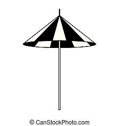 icône, conception, plat, parasol, plage