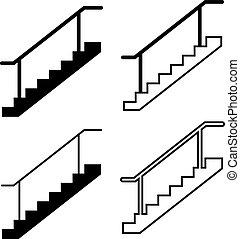 icône, conception toile, escalier