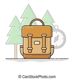icône, conception, vecteur, adventure., vacation., plat, voyage, sac à dos