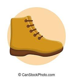 icône, conception, vecteur, aventure, bottes, fashion., plat, escalade