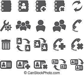 icône, contacts, ensembles