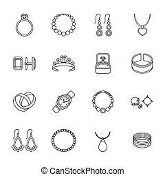 icône, contour, bijouterie