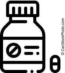 icône, contour, bouteille, illustration, vecteur, mort, pilule