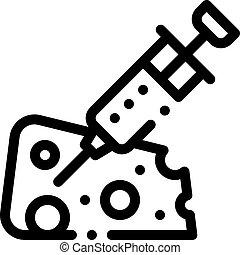 icône, contour, fromage, illustration, injection, vecteur