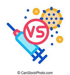 icône, contour, illustration, injection, vecteur, anti-virus