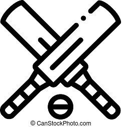 icône, contour, illustration, vecteur, balle, chauves-souris