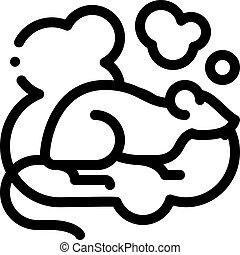 icône, contour, illustration, vecteur, rat, fumée