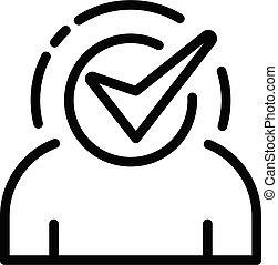 icône, contour, style, approuvé, directeur, business