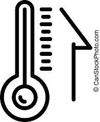 icône, contour, thermomètre, style, sauna