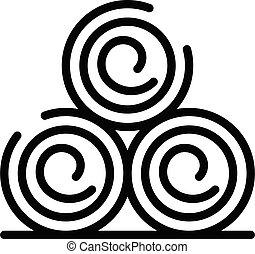 icône, contour, trois, style, sauna, rouleaux