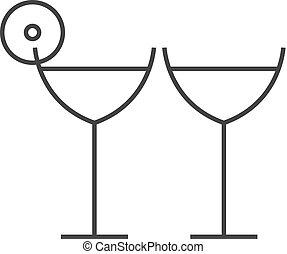 icône, -, contour, vin