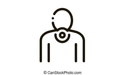 icône, cou, animation, douleur