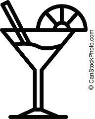 icône, couper, martini, chaux, style, contour, verre