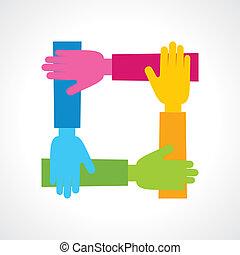 icône, créatif, main