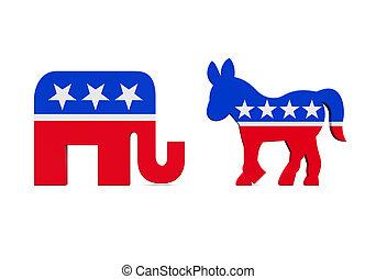icône, démocrate, républicain