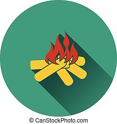 icône, de, camping, brûler