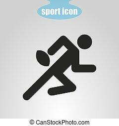 icône, de, joueur rugby, sur, a, gris, arrière-plan., vecteur, illustration