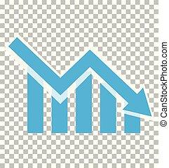 icône, declining., transparent, négatif, diagramme, graphique, tendance, barres, perte, chart., déclinant, arrière-plan., symbole., signe.