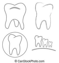 icône, dent, signe