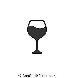 icône, design., illustration, verre, vecteur, vin, simple