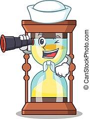icône, dessin animé, binoculaire, chronomètre, marin