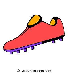 icône, dessin animé, icône, botte, football