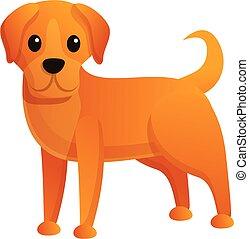 icône, dessin animé, sdf, style, chien