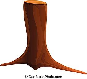 icône, dessin animé, tronçon arbre, élevé, style