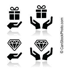 icône, diamant, présent, mains