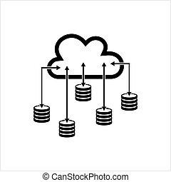 icône, données, base, nuage, icône, base données