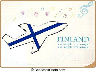 icône, drapeau, fait, avion, finlande
