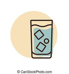 icône, eau, glace, verre, vecteur