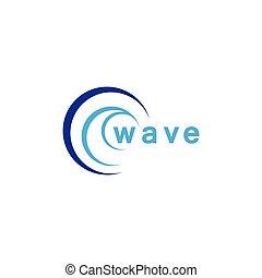 icône, eau, vecteur, vague
