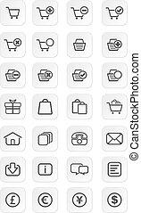icône, ecommerce, ensembles