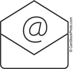 icône, -, email, contour