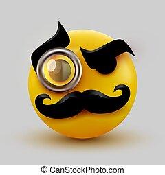 icône, emoticon., monocle., monsieur, monsieur, moustache