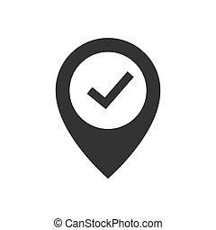 icône, emplacement, chèque, noir, marque, épingle
