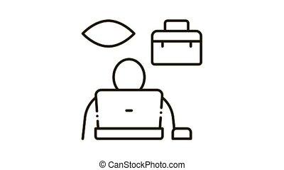 icône, employé, supervision, animation
