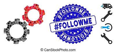 icône, engrenages, #followme, textured, timbre, mosaïque